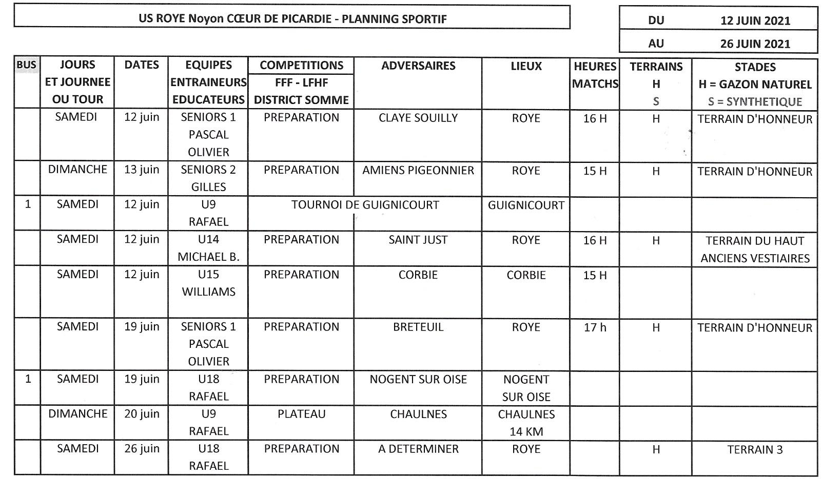 Planning sportif 2