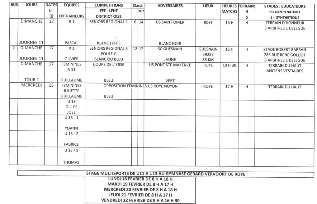 Planning sportif du 13 au 17 fevrier