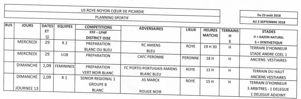 Planning sportif du 23 au 2 09