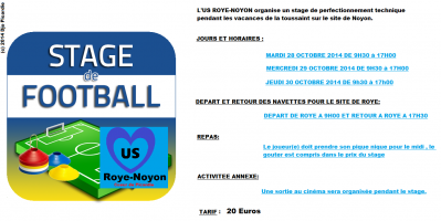 Stage football octobre 2014